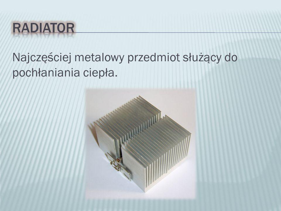 Najczęściej metalowy przedmiot służący do pochłaniania ciepła.