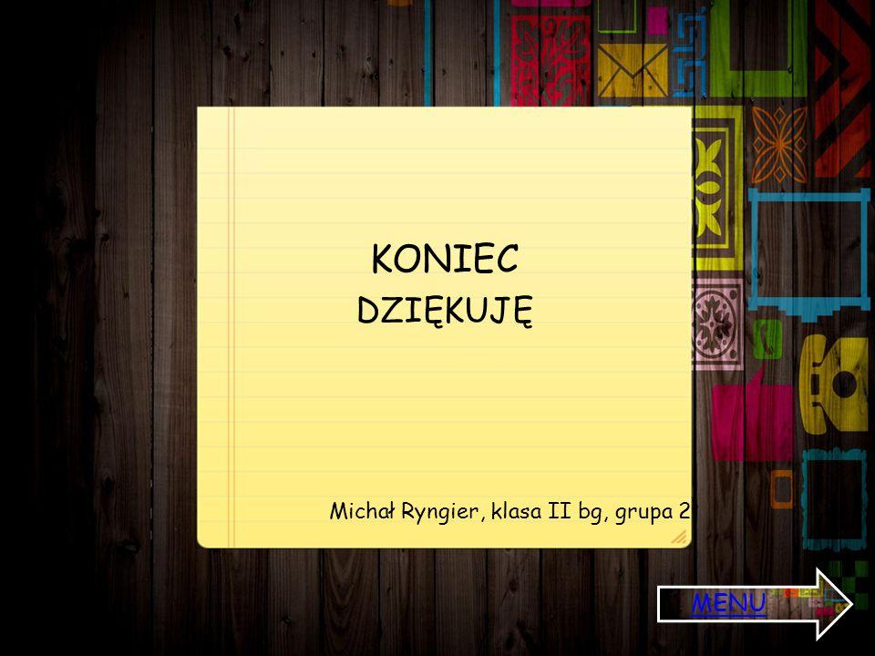 KONIEC DZIĘKUJĘ Michał Ryngier, klasa II bg, grupa 2. MENU