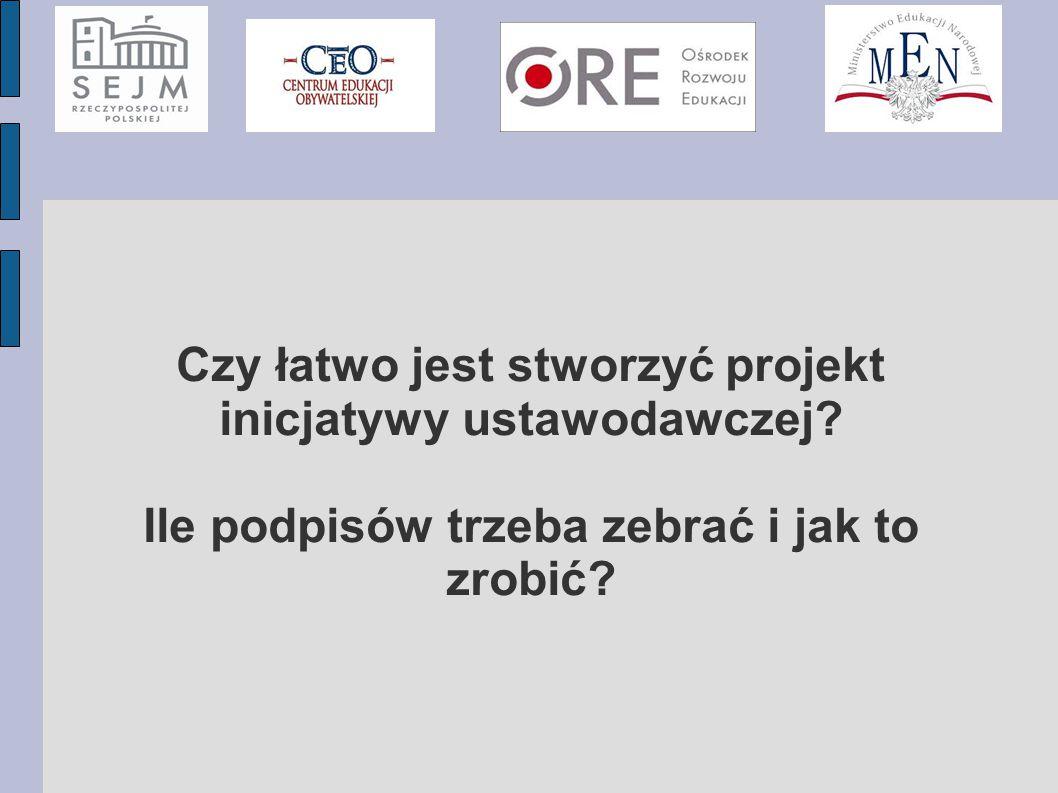 Czy łatwo jest stworzyć projekt inicjatywy ustawodawczej.