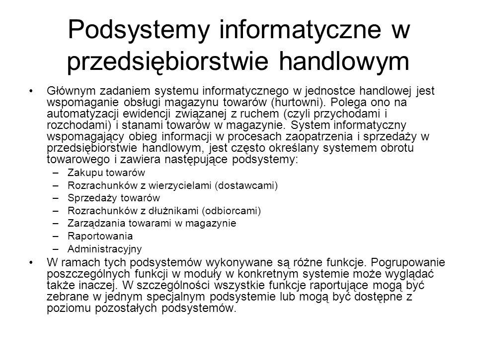 Podsystemy informatyczne w przedsiębiorstwie handlowym Głównym zadaniem systemu informatycznego w jednostce handlowej jest wspomaganie obsługi magazyn