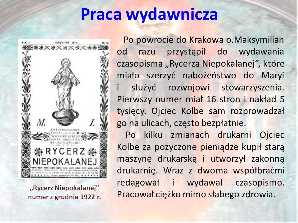 """Praca wydawnicza """"Rycerz Niepokalanej numer z grudnia 1922 r."""