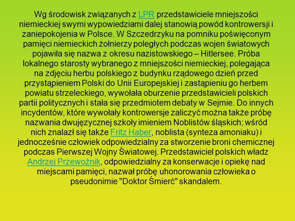 Obecnie na mniejszość niemiecką w Polsce składają się głównie rdzenni mieszkańcy i ich potomkowie tzw. ziem odzyskanych, którzy ze względu na przywiąz