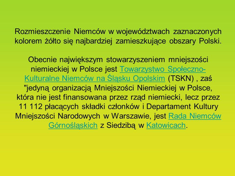 Rozmieszczenie Niemców w województwach zaznaczonych kolorem żółto się najbardziej zamieszkujące obszary Polski.