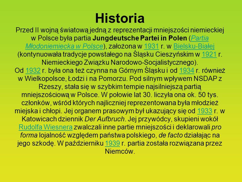 Historia Przed II wojną światową jedną z reprezentacji mniejszości niemieckiej w Polsce była partia Jungdeutsche Partei in Polen (Partia Młodoniemiecka w Polsce), założona w 1931 r.