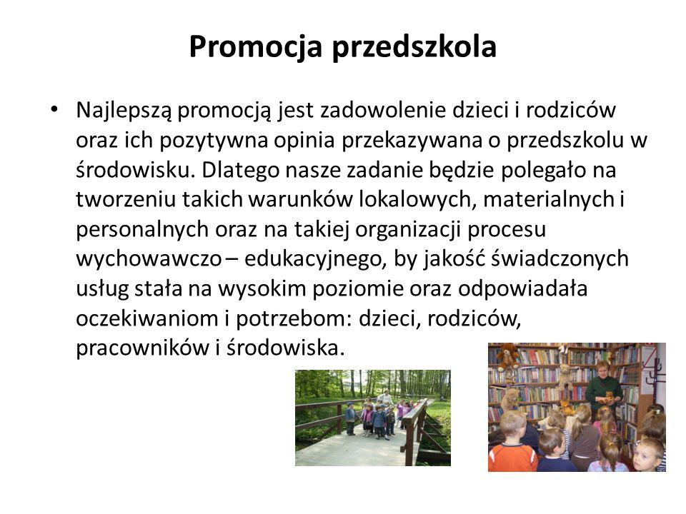 Promocja przedszkola Najlepszą promocją jest zadowolenie dzieci i rodziców oraz ich pozytywna opinia przekazywana o przedszkolu w środowisku. Dlatego