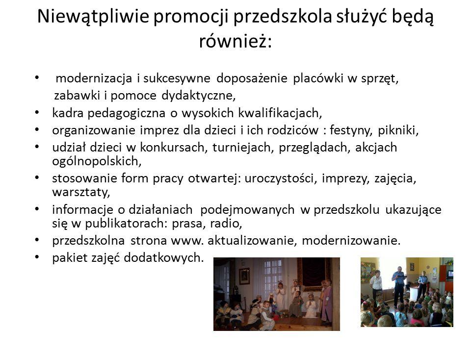 Niewątpliwie promocji przedszkola służyć będą również: modernizacja i sukcesywne doposażenie placówki w sprzęt, zabawki i pomoce dydaktyczne, kadra pe