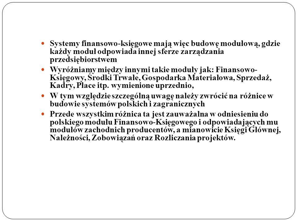 Systemy finansowo-księgowe mają więc budowę modułową, gdzie każdy moduł odpowiada innej sferze zarządzania przedsiębiorstwem Wyróżniamy między innymi