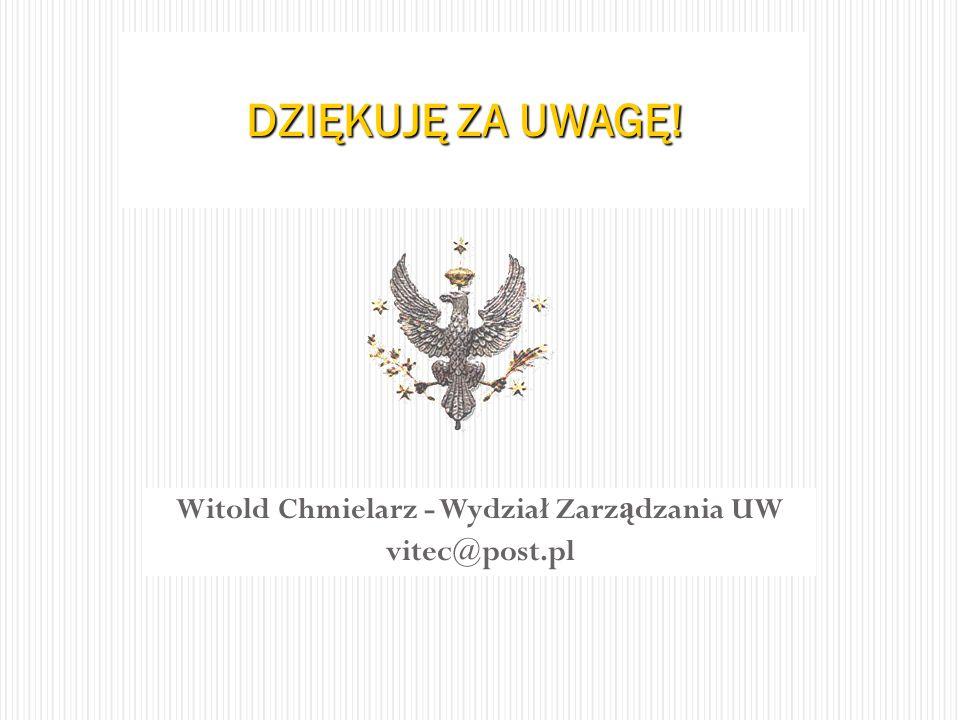 Witold Chmielarz - Wydział Zarz ą dzania UW vitec@post.pl DZIĘKUJĘ ZA UWAGĘ!