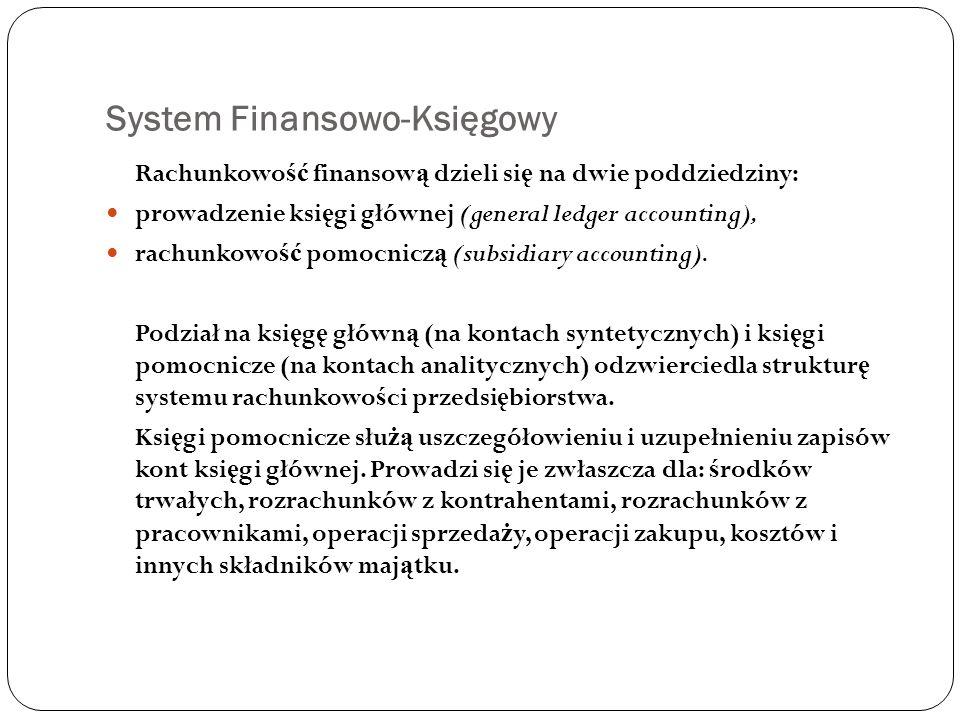 System Finansowo-Księgowy Rachunkowo ść finansow ą dzieli si ę na dwie poddziedziny: prowadzenie ksi ę gi głównej (general ledger accounting), rachunk