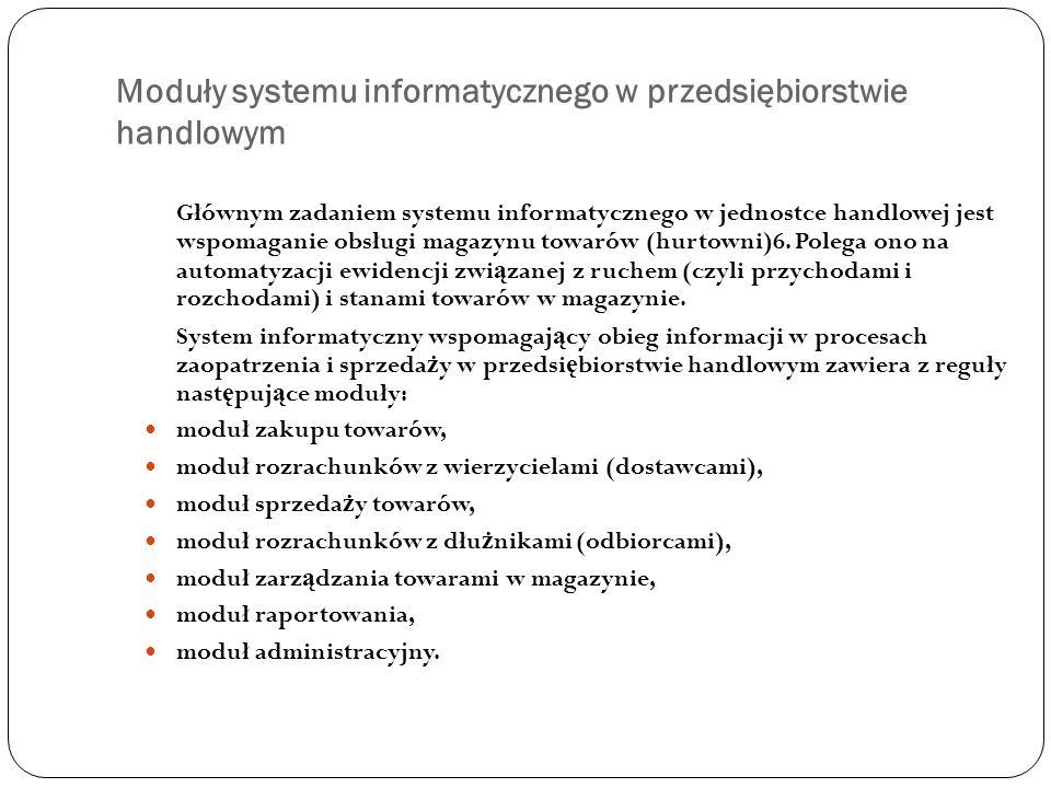 Moduły systemu informatycznego w przedsiębiorstwie handlowym Głównym zadaniem systemu informatycznego w jednostce handlowej jest wspomaganie obsługi m