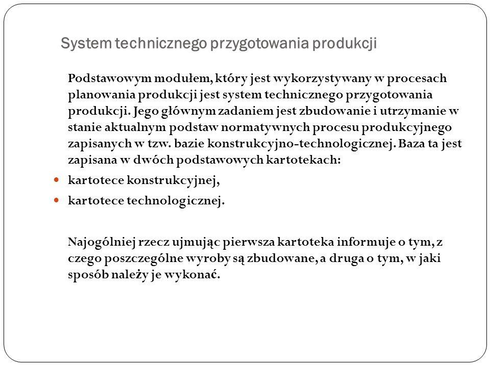 System technicznego przygotowania produkcji Podstawowym modułem, który jest wykorzystywany w procesach planowania produkcji jest system technicznego p