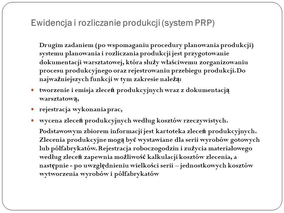 Ewidencja i rozliczanie produkcji (system PRP) Drugim zadaniem (po wspomaganiu procedury planowania produkcji) systemu planowania i rozliczania produk