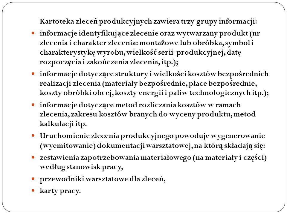 Kartoteka zlece ń produkcyjnych zawiera trzy grupy informacji: informacje identyfikuj ą ce zlecenie oraz wytwarzany produkt (nr zlecenia i charakter z