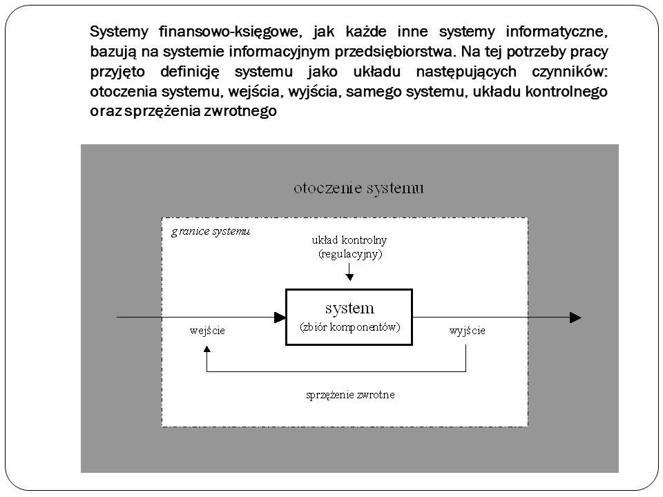 Systemy finansowo-księgowe, jak każde inne systemy informatyczne, bazują na systemie informacyjnym przedsiębiorstwa. Na tej potrzeby pracy przyjęto de