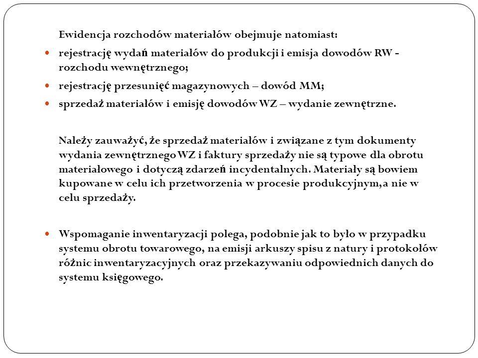 Ewidencja rozchodów materiałów obejmuje natomiast: rejestracj ę wyda ń materiałów do produkcji i emisja dowodów RW - rozchodu wewn ę trznego; rejestra