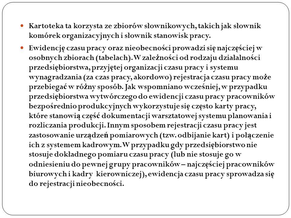 Kartoteka ta korzysta ze zbiorów słownikowych, takich jak słownik komórek organizacyjnych i słownik stanowisk pracy. Ewidencj ę czasu pracy oraz nieob