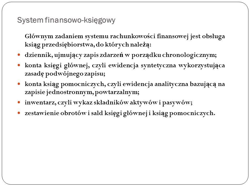 System finansowo-księgowy Głównym zadaniem systemu rachunkowo ś ci finansowej jest obsługa ksi ą g przedsi ę biorstwa, do których nale żą : dziennik,