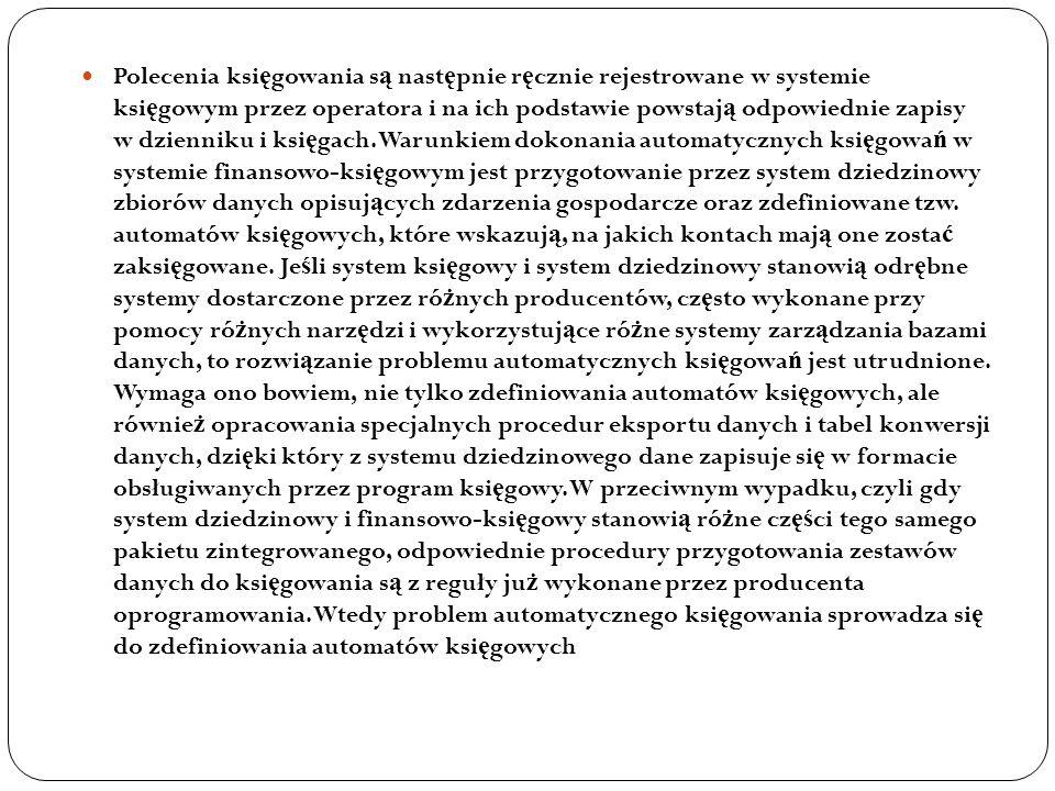 Polecenia ksi ę gowania s ą nast ę pnie r ę cznie rejestrowane w systemie ksi ę gowym przez operatora i na ich podstawie powstaj ą odpowiednie zapisy