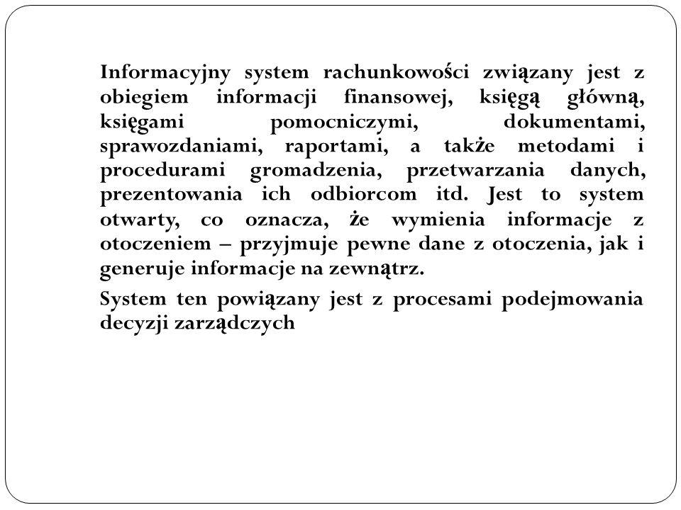 Informacyjny system rachunkowo ś ci zwi ą zany jest z obiegiem informacji finansowej, ksi ę g ą główn ą, ksi ę gami pomocniczymi, dokumentami, sprawoz