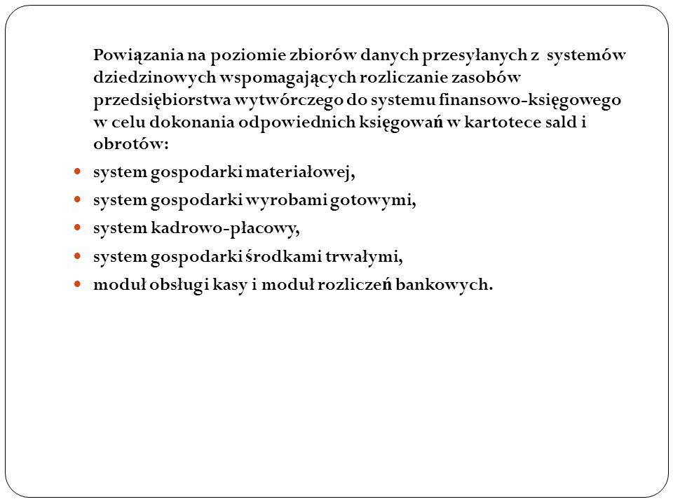 Powi ą zania na poziomie zbiorów danych przesyłanych z systemów dziedzinowych wspomagaj ą cych rozliczanie zasobów przedsi ę biorstwa wytwórczego do s