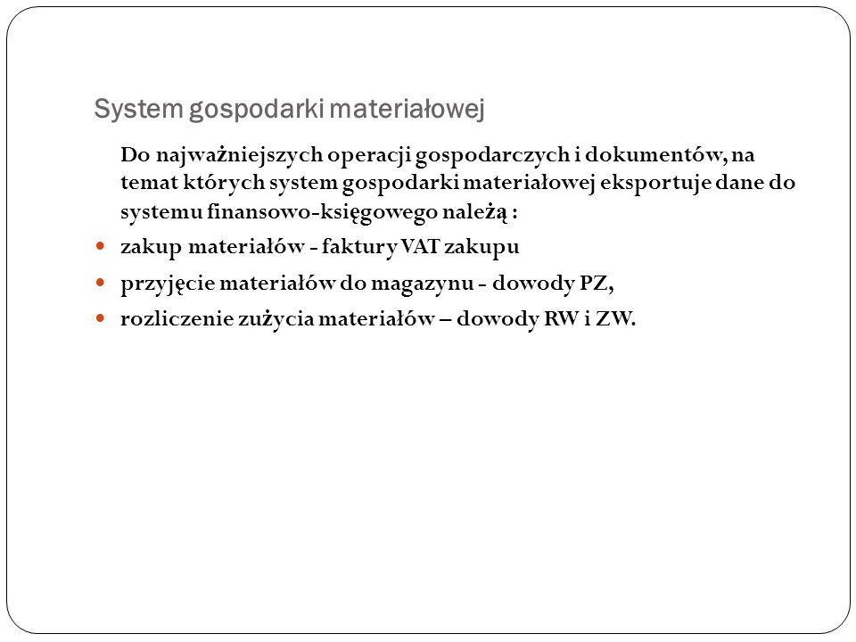 System gospodarki materiałowej Do najwa ż niejszych operacji gospodarczych i dokumentów, na temat których system gospodarki materiałowej eksportuje da