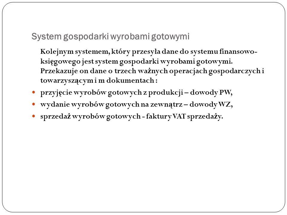 System gospodarki wyrobami gotowymi Kolejnym systemem, który przesyła dane do systemu finansowo- ksi ę gowego jest system gospodarki wyrobami gotowymi