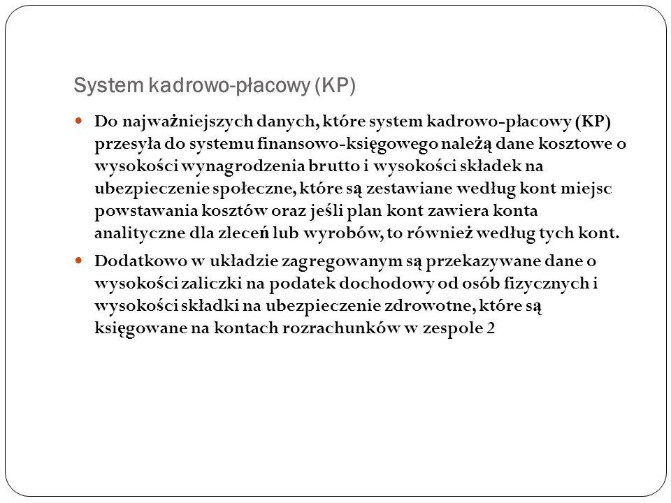 System kadrowo-płacowy (KP) Do najwa ż niejszych danych, które system kadrowo-płacowy (KP) przesyła do systemu finansowo-ksi ę gowego nale żą dane kos