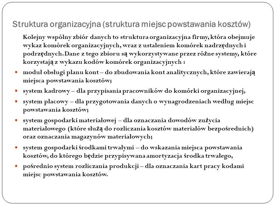 Struktura organizacyjna (struktura miejsc powstawania kosztów) Kolejny wspólny zbiór danych to struktura organizacyjna firmy, która obejmuje wykaz kom