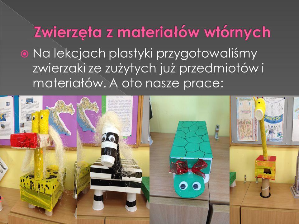  Na lekcjach plastyki przygotowaliśmy zwierzaki ze zużytych już przedmiotów i materiałów. A oto nasze prace: