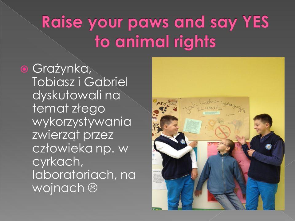  Grażynka, Tobiasz i Gabriel dyskutowali na temat złego wykorzystywania zwierząt przez człowieka np. w cyrkach, laboratoriach, na wojnach 