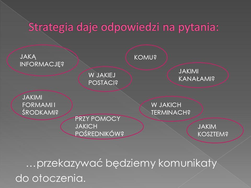 - cykl życia produktu, - fazę rozwojową rynku, - pozycję rynkową przedsiębiorstwa i formę rynku, - rodzaj nabywcy, - rodzaj produktu i charakter (osobowość) marki, - wielkość przedsiębiorstwa i posiadane zasoby, - rodzaj konkurencji stosowanej przez przedsiębiorstwo, - strategie komunikacji marketingowej stosowane przez konkurentów rynkowych.