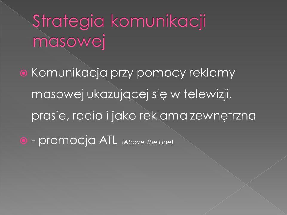  Komunikacja przy pomocy reklamy masowej ukazującej się w telewizji, prasie, radio i jako reklama zewnętrzna  - promocja ATL (Above The Line)