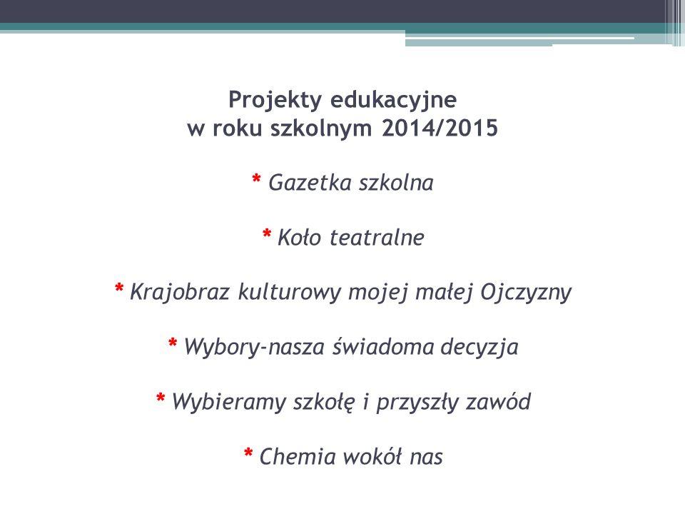Projekty edukacyjne w roku szkolnym 2014/2015 * Gazetka szkolna * Koło teatralne * Krajobraz kulturowy mojej małej Ojczyzny * Wybory-nasza świadoma de
