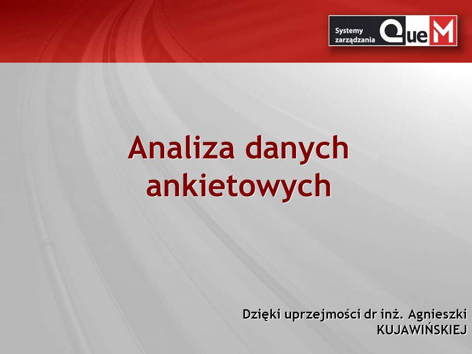 Analiza danych ankietowych Dzięki uprzejmości dr inż. Agnieszki KUJAWIŃSKIEJ