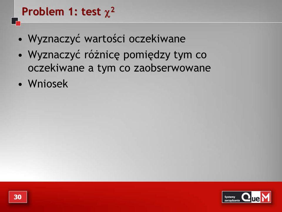 Problem 1: test  2 Wyznaczyć wartości oczekiwane Wyznaczyć różnicę pomiędzy tym co oczekiwane a tym co zaobserwowane Wniosek 30