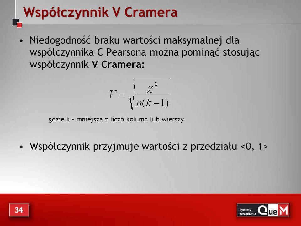 Współczynnik V Cramera Niedogodność braku wartości maksymalnej dla współczynnika C Pearsona można pominąć stosując współczynnik V Cramera: gdzie k – m