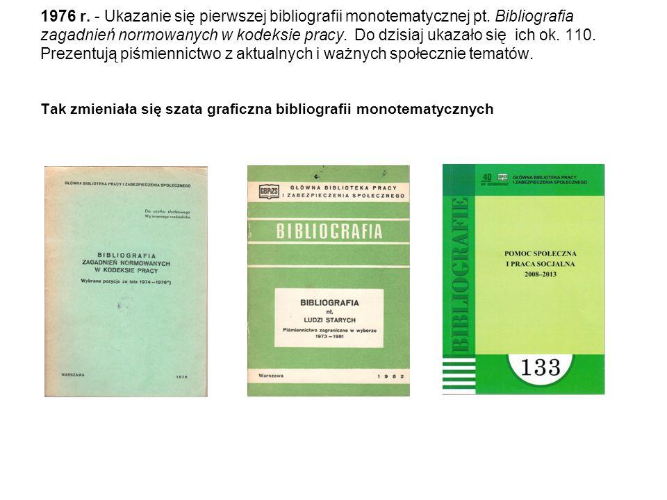 1976 r.- Ukazanie się pierwszej bibliografii monotematycznej pt.