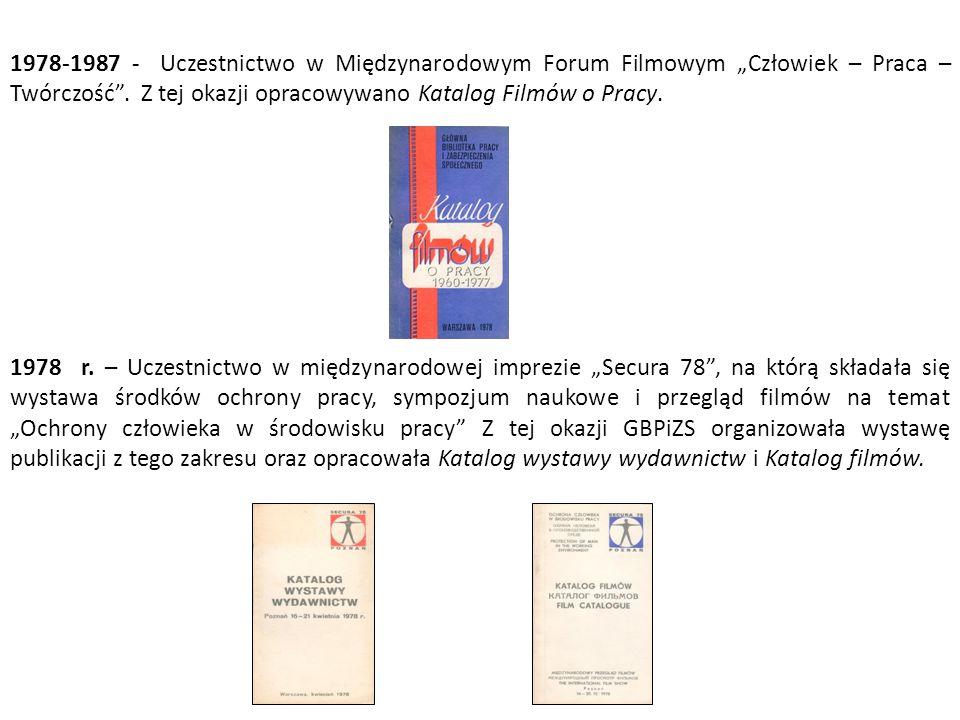 """1978-1987 - Uczestnictwo w Międzynarodowym Forum Filmowym """"Człowiek – Praca – Twórczość ."""