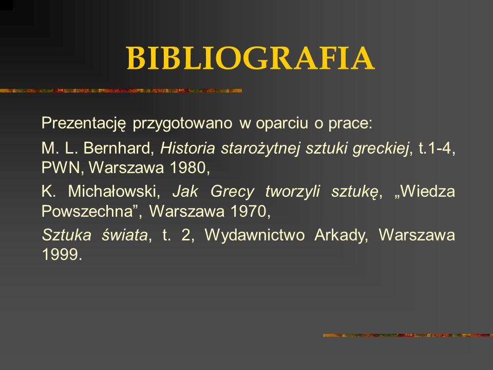 BIBLIOGRAFIA Prezentację przygotowano w oparciu o prace: M. L. Bernhard, Historia starożytnej sztuki greckiej, t.1-4, PWN, Warszawa 1980, K. Michałows