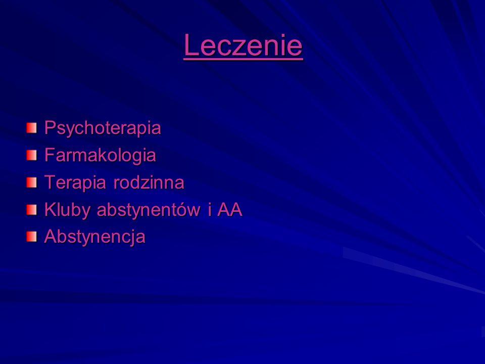 Leczenie PsychoterapiaFarmakologia Terapia rodzinna Kluby abstynentów i AA Abstynencja