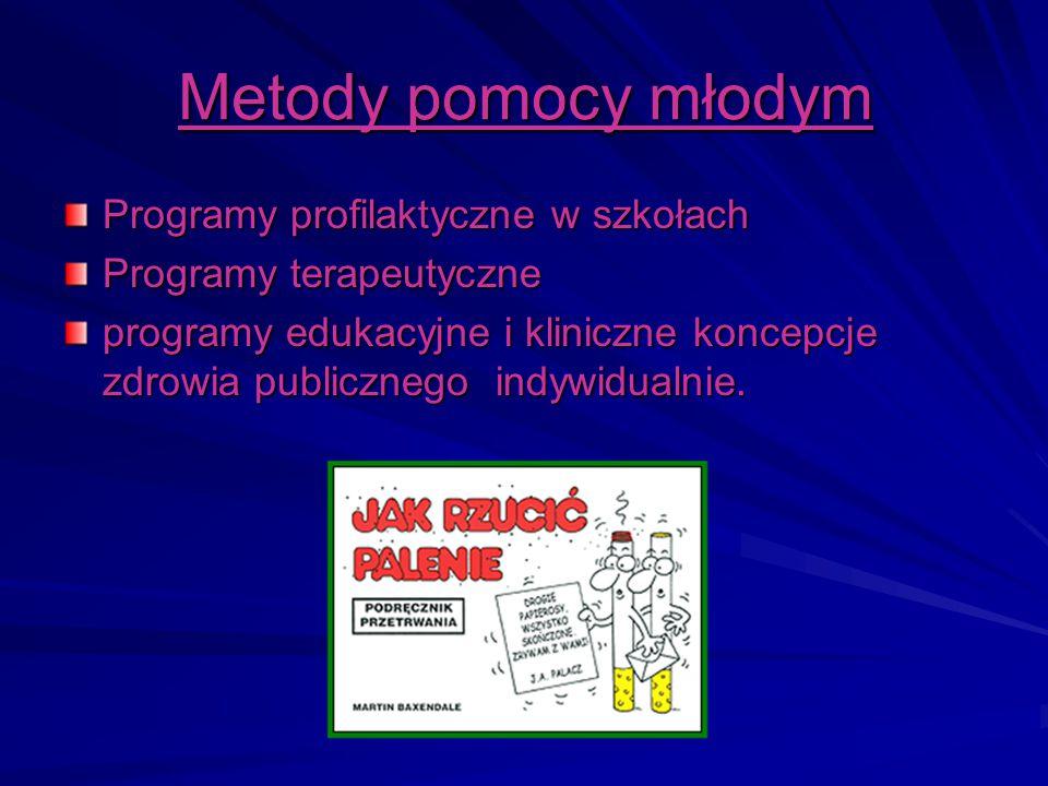 Metody pomocy młodym Programy profilaktyczne w szkołach Programy terapeutyczne programy edukacyjne i kliniczne koncepcje zdrowia publicznego indywidua