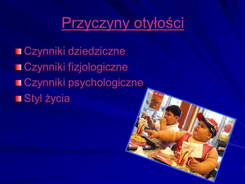 Przyczyny otyłości Czynniki dziedziczne Czynniki fizjologiczne Czynniki psychologiczne Styl życia