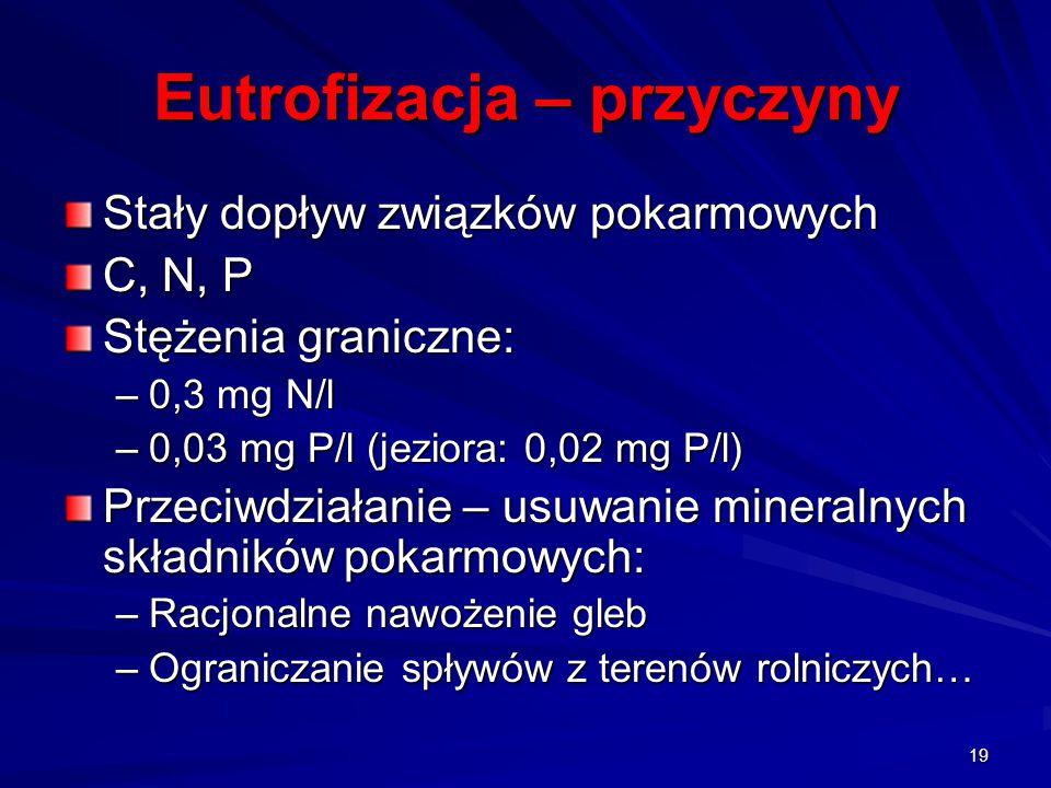 Eutrofizacja – przyczyny Stały dopływ związków pokarmowych C, N, P Stężenia graniczne: –0,3 mg N/l –0,03 mg P/l (jeziora: 0,02 mg P/l) Przeciwdziałani