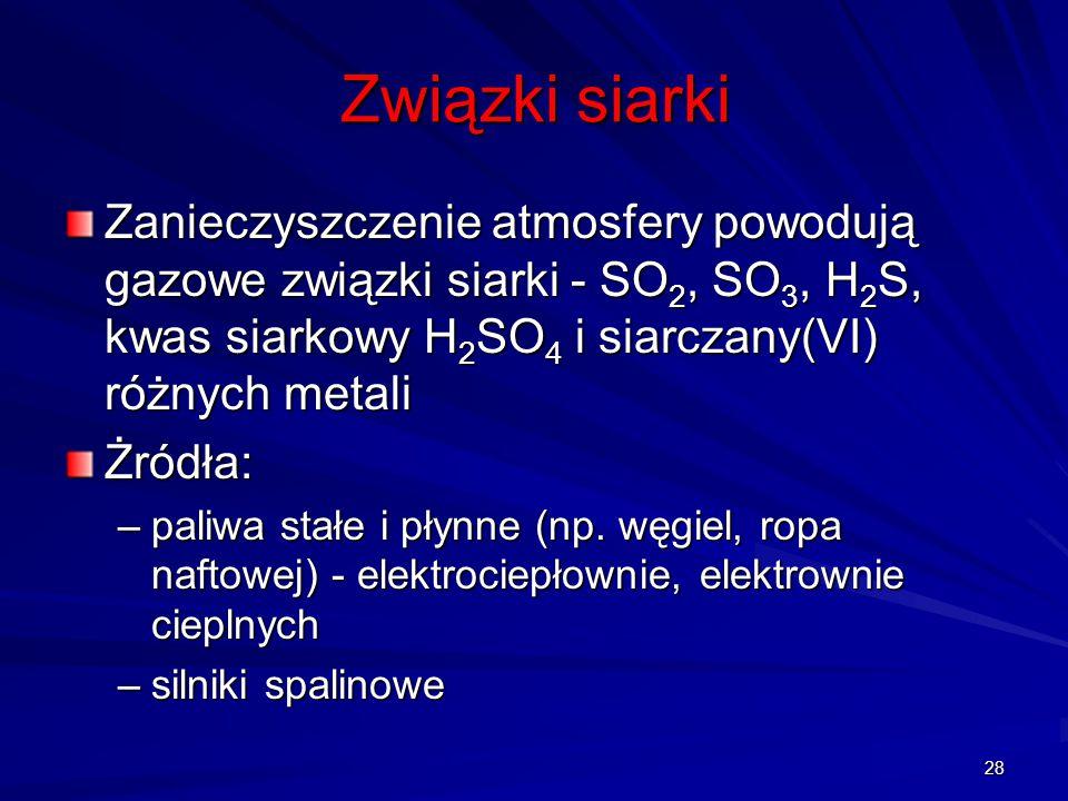 Związki siarki Zanieczyszczenie atmosfery powodują gazowe związki siarki - SO 2, SO 3, H 2 S, kwas siarkowy H 2 SO 4 i siarczany(VI) różnych metali Żr