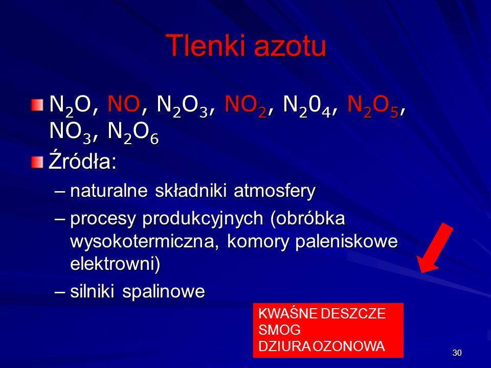 Tlenki azotu N 2 O, NO, N 2 O 3, NO 2, N 2 0 4, N 2 O 5, NO 3, N 2 O 6 Źródła: –naturalne składniki atmosfery –procesy produkcyjnych (obróbka wysokote