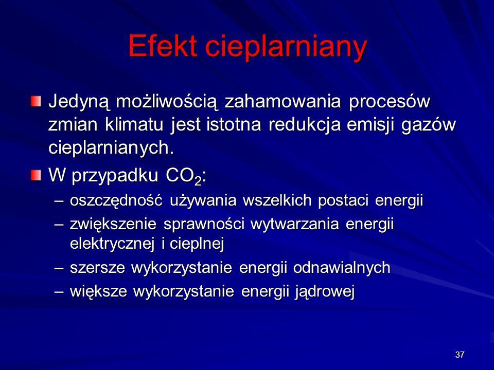 37 Jedyną możliwością zahamowania procesów zmian klimatu jest istotna redukcja emisji gazów cieplarnianych. W przypadku CO 2 : –oszczędność używania w