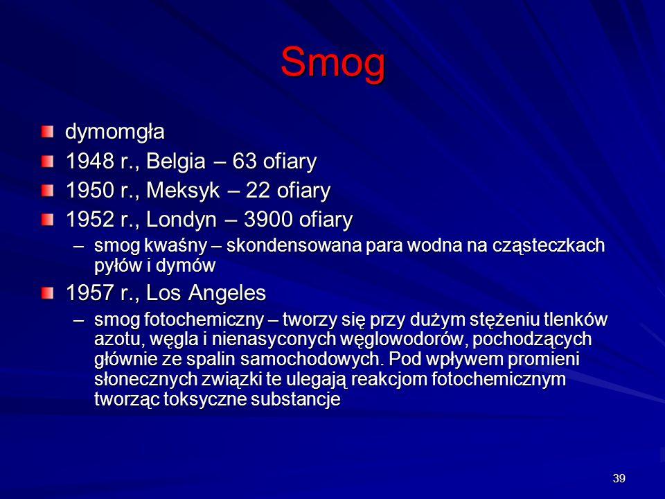 39 Smog dymomgła 1948 r., Belgia – 63 ofiary 1950 r., Meksyk – 22 ofiary 1952 r., Londyn – 3900 ofiary –smog kwaśny – skondensowana para wodna na cząs