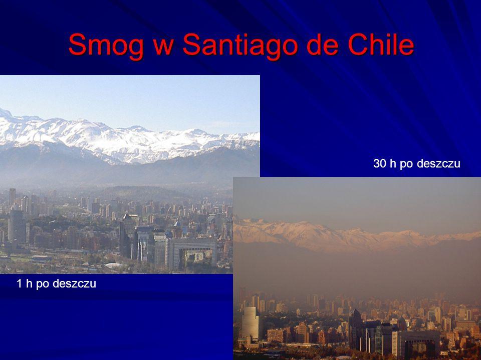 Smog w Santiago de Chile 40 1 h po deszczu 30 h po deszczu