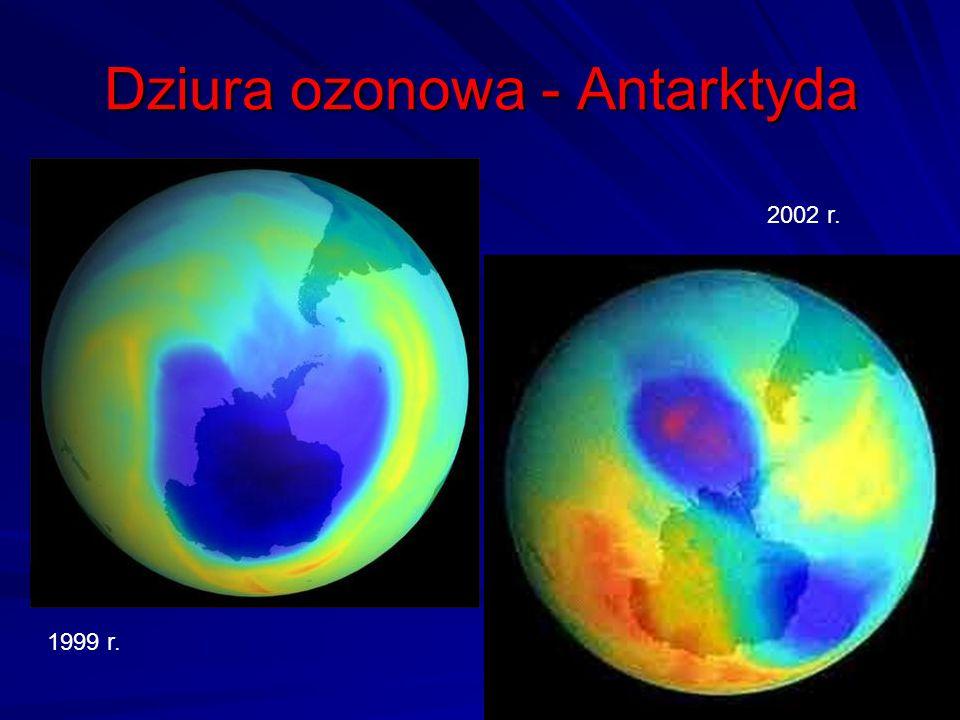 Dziura ozonowa - Antarktyda 51 1999 r. 2002 r.