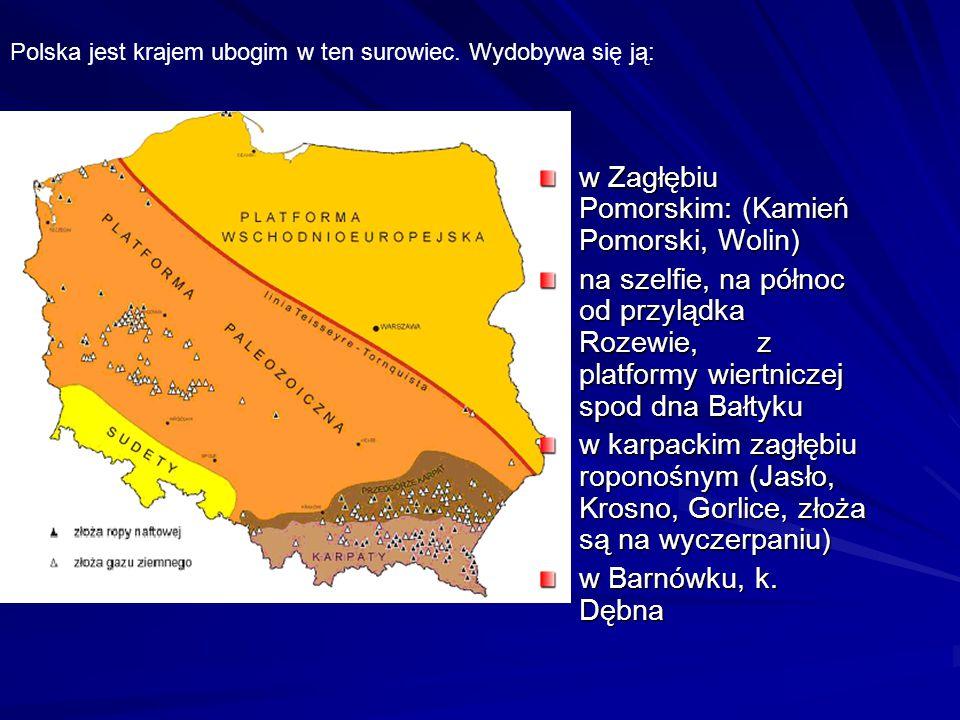 w Zagłębiu Pomorskim: (Kamień Pomorski, Wolin) na szelfie, na północ od przylądka Rozewie, z platformy wiertniczej spod dna Bałtyku w karpackim zagłęb